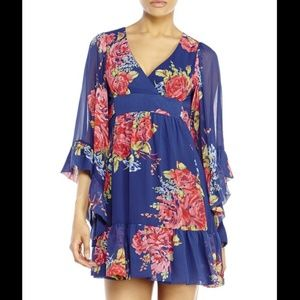 Betsey Johnson Floral Kimono Bell Sleeve Dress